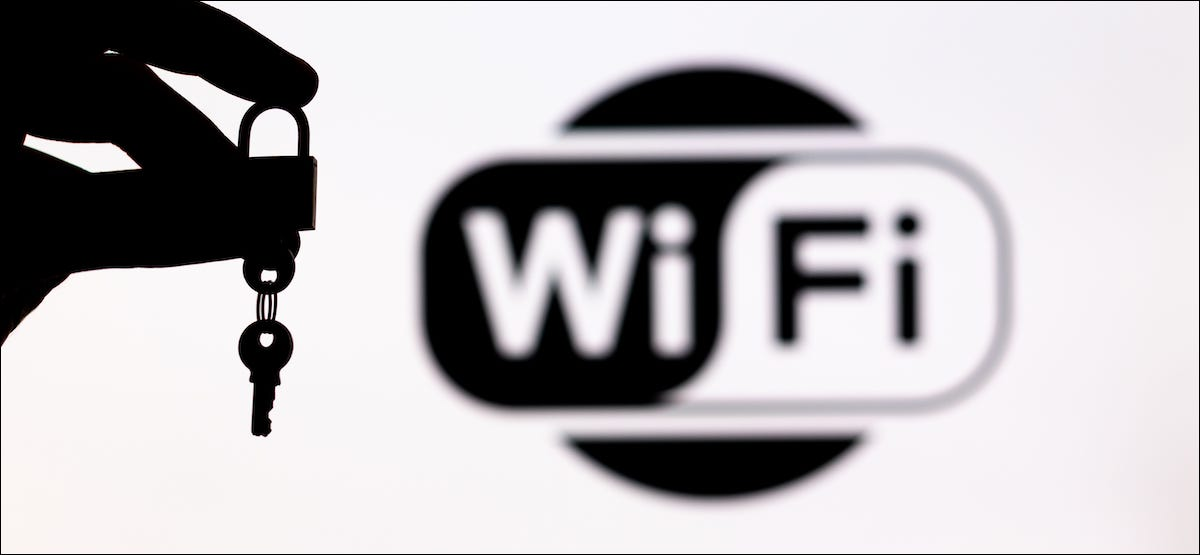 Wi-Fi logo with a lock and key
