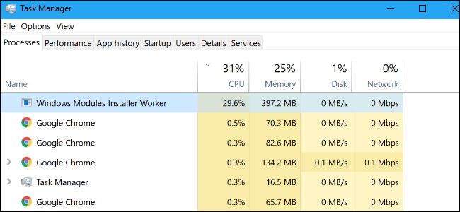 windows modules installer worker win10