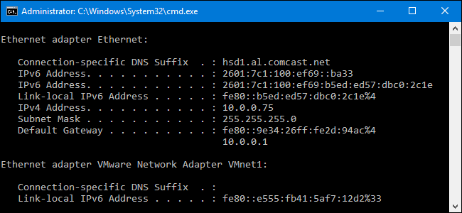 how to know my wifi ip address using cmd