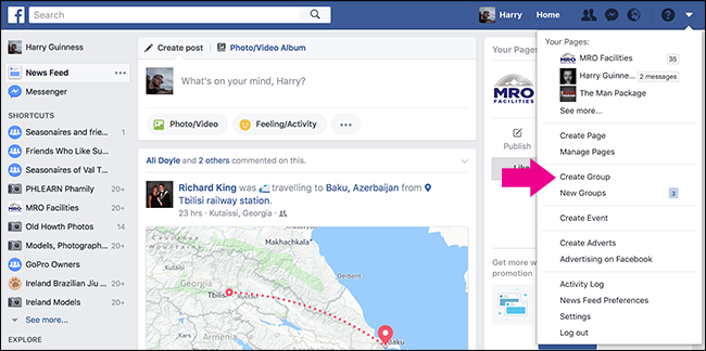 how to create group account in facebook