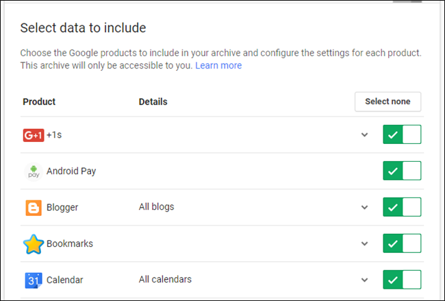 How to Download a Backup Archive of All Your Gmail, Calendar, Docs
