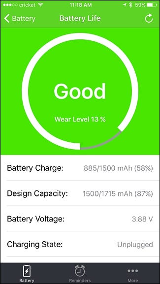 Iphone app to monitor battery usage