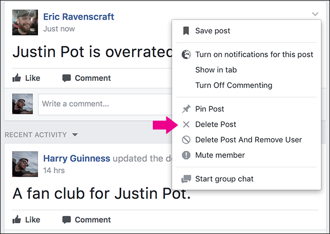 How to remove a post from a facebook group facebook will ask you to confirm so click delete again ccuart Choice Image