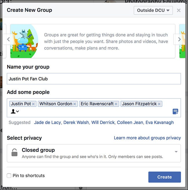 I've invited a few of my coworkers who I know are also big Justin Pot fans. Facebook will also suggest some Friends you might want to add.