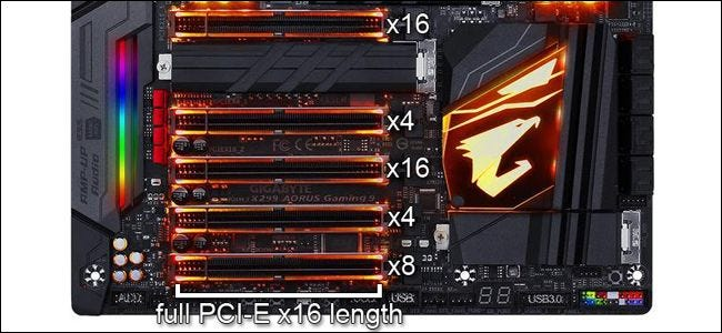 A Gigabyte motherboard showing PCIe slots