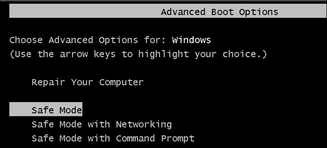 boot windows in safe mode