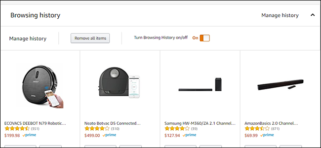 clear amazon browsing history
