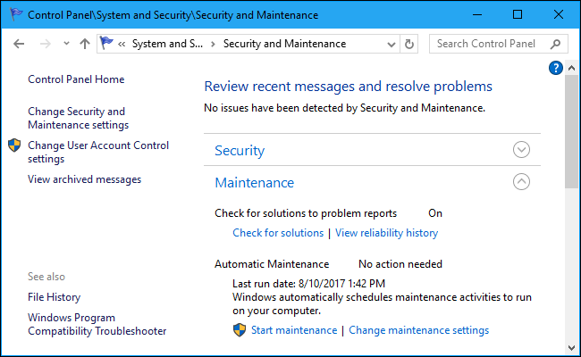 How to schedule automatic maintenance on windows 10 and for 12 hour window birth control