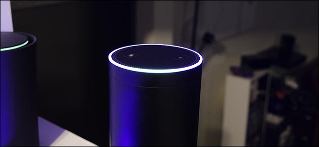 Amazon Echo device in listening mode