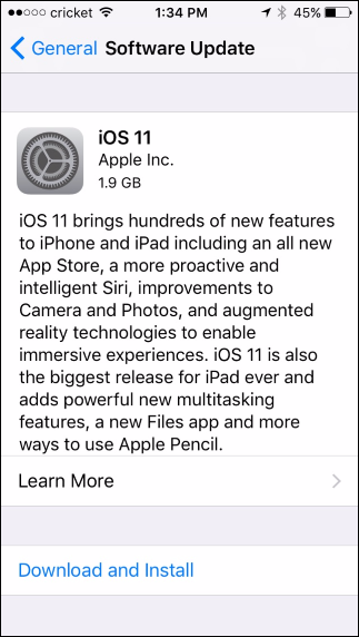 ios 11 download and install not working