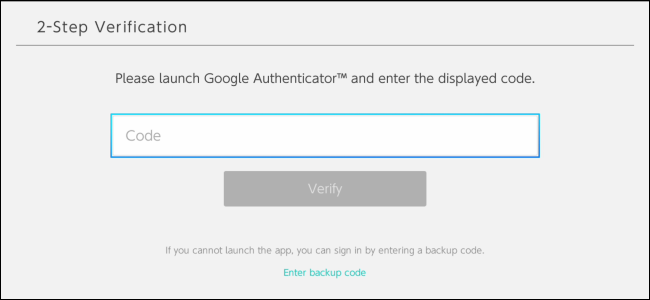 Using Google Authenticator two-step authentication to sign in to a Nintendo Switch account.