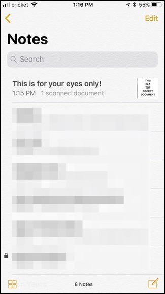 """The scan will be in the """"Notes"""" app"""
