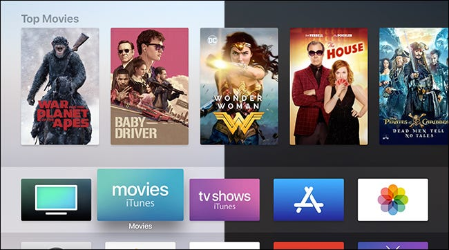 """The Apple TV interface showing """"Top Movies."""""""