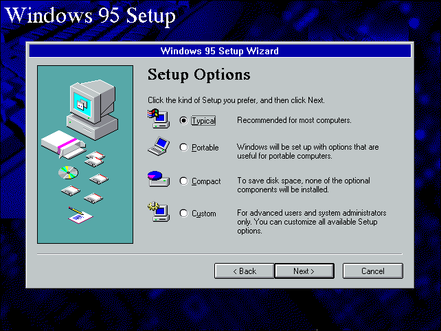 How to install windows 95 in a virtual machine for Windows 95 startup sound