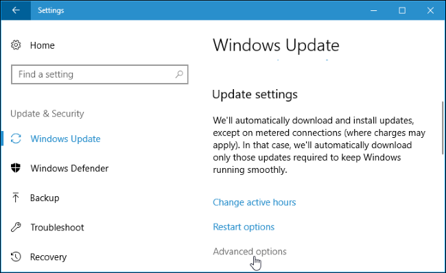 click the advanced options link under update settings in windows update pane