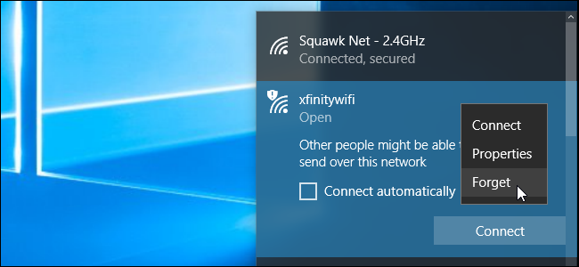 Forgetting a saved Wi-Fi network on Windows 10