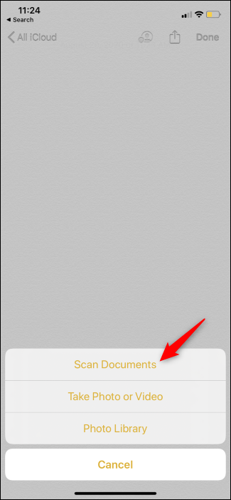 """The """"Scan Documents"""" icon in the iPhone's Notes app."""