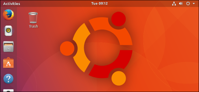 The Ubuntu logo on a desktop.