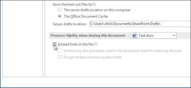 be sure to check the embed only the characters used in the document best for reducing file size option office will only embed a font