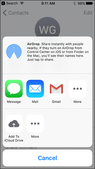 How to Share a Contact Over Text Message on the iPhone