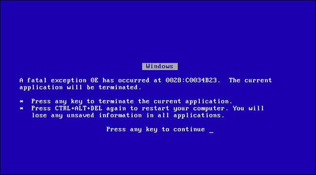 Image result for blue screen of death windows 95