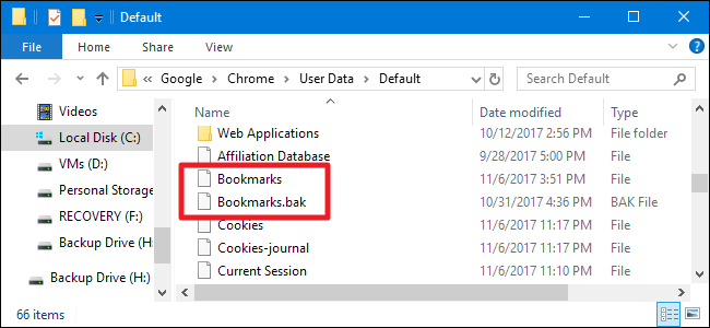 Both bookmarks files inside the Chrome directory