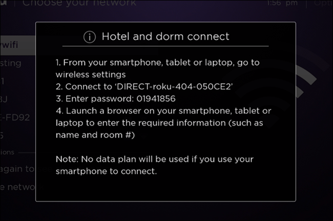 Hooking up roku to hotel wifi