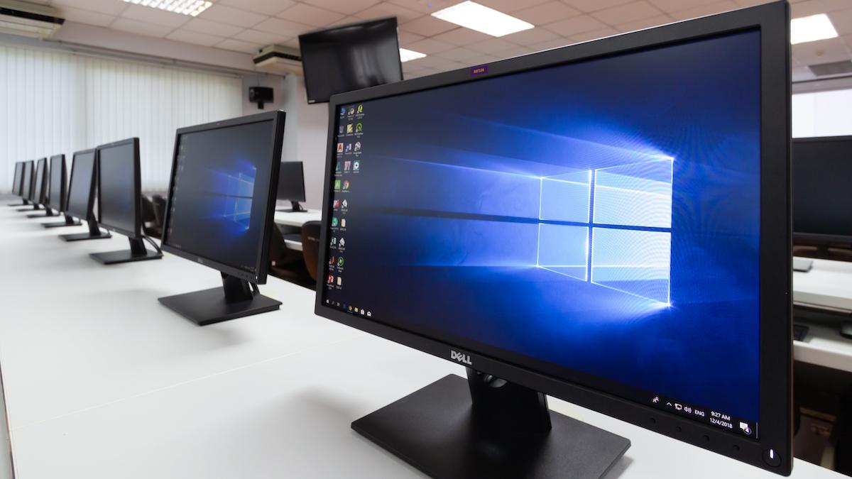 Multiple Windows computer on a desk