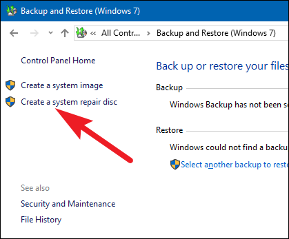 Windows 10 create a system repair disc on a bootable usb flash drive