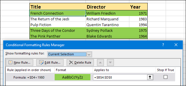 Excel conditional formatting not updating automatically