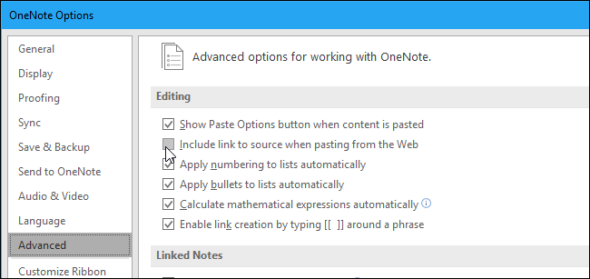 How to Disable Website Links When Pasting Text Into OneNote