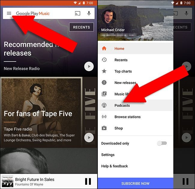 how to add a podcast to google play music