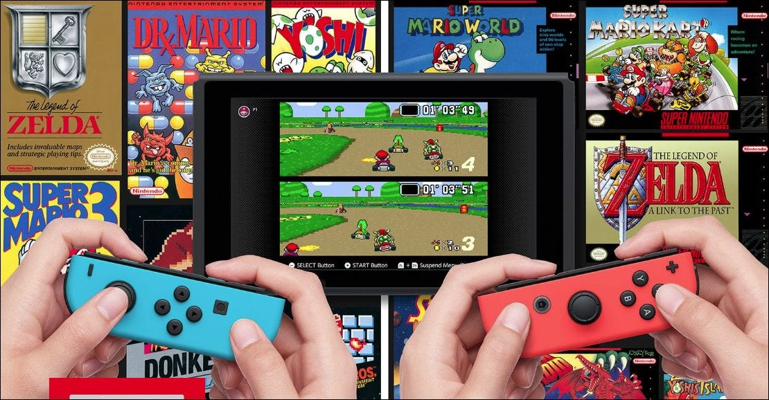 Playing Mario Kart for SNES on a Nintendo Switch.