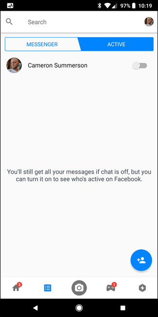 how to turn off active on messenger android
