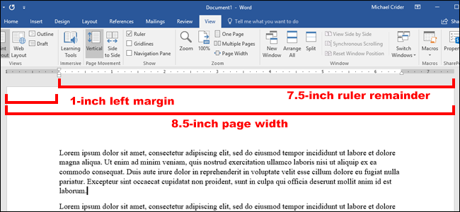 Note: Wordu0027s Rulers Show Whatever Measurement You Have Set In File U003e  Options U003e Advanced U003e Show Measurements In Units Of. You Can Change  Measurements To ...  One Inch Margins