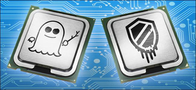 وحدات المعالجة المركزية منمق مع شعارات Specter و Meltdown.