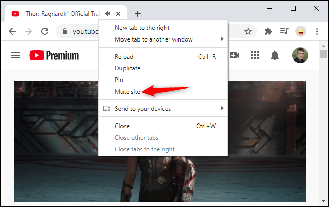 Muting a website from Chrome's tab context menu