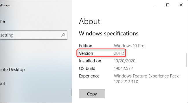 Windows 10's Settings app showing version 20H2.