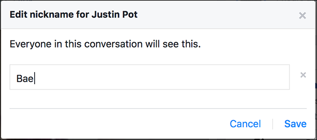 how to change nickname facebook chat