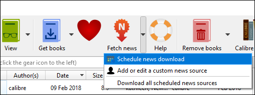 """Click the down arrow and select """"Schedule News Download"""""""