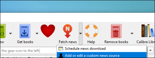 """Right-click the """"Fetch News"""" button and select """"Add or Edit a Custom News Source"""""""