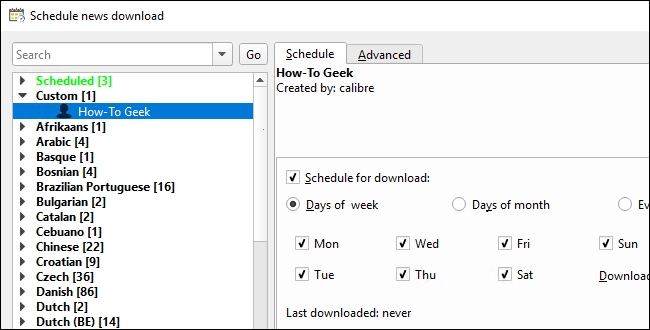 """Go back to Fetch News > Schedule News Download, find the new recipe under """"Custom"""""""