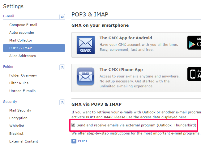 """Go to the POP3 and IMAP section and check the """"Send and Receive Emails via External Program"""" box"""