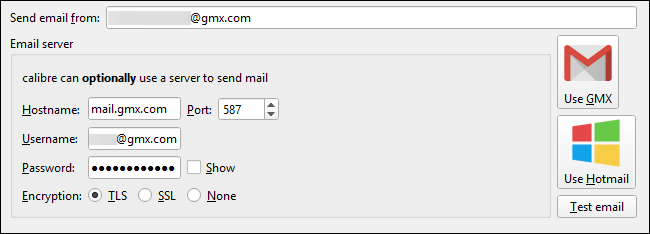 """Click the """"Use GMX"""" button in Calibre's Sharing Books by Email windows and enter your GMX credentials"""