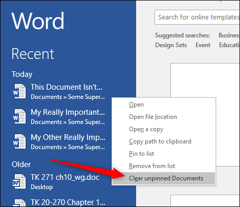 How to Clear or Disable the Recent Documents List in