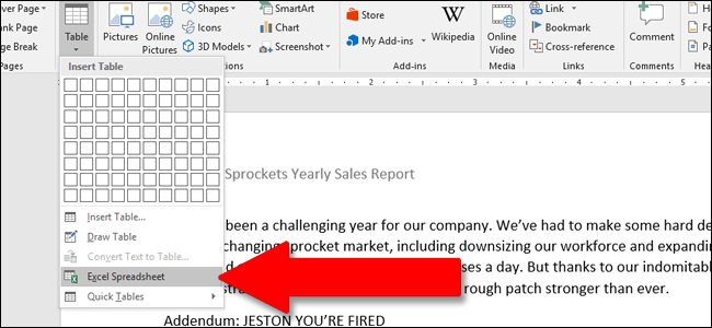 How To Use Excel-Style Spreadsheets in Microsoft Word