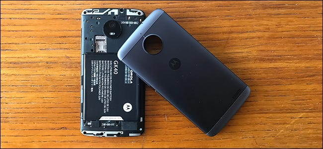 An Android phone with its battery cover removed.