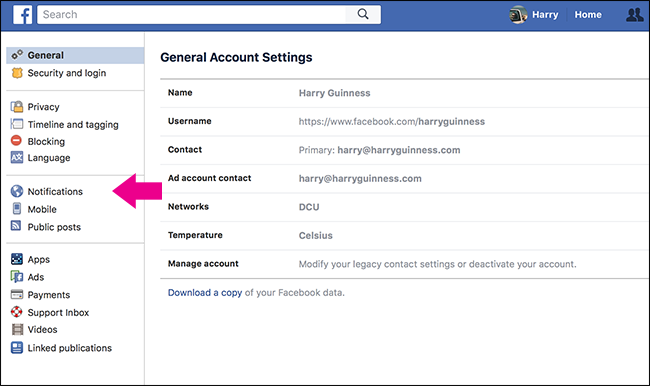 how to get notifications off a facebook page