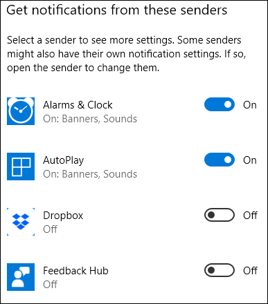 choosing notification options for individual apps