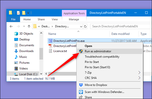export list of files in folder command prompt